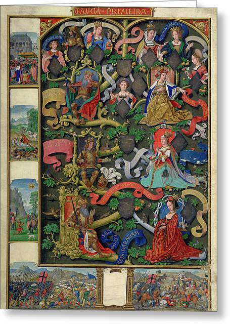 Genealogy Of Kings Of Navarre Greeting Card by British Library