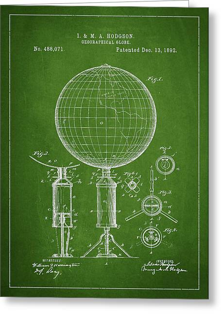 Geographical Globe Patent Drawing From 1892 Greeting Card