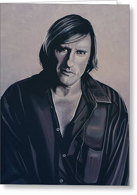 Gerard Depardieu Painting Greeting Card by Paul Meijering