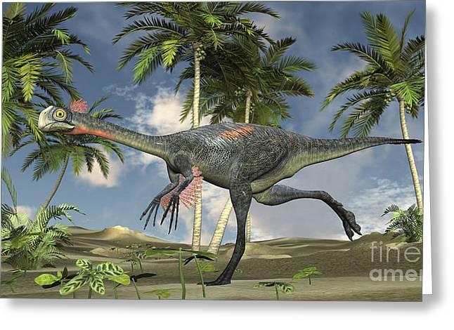 Gigantoraptor Running Greeting Card by Kostyantyn Ivanyshen