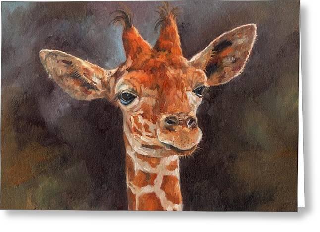 Giraffe Greeting Card by David Stribbling