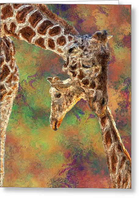 Giraffes - Happened At The Zoo Greeting Card by Jack Zulli