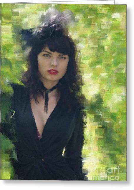 Girl In Black Dress Greeting Card by Aleksey Tugolukov