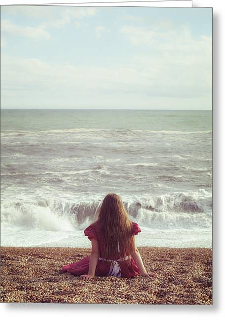 Girl On Beach Greeting Card by Joana Kruse