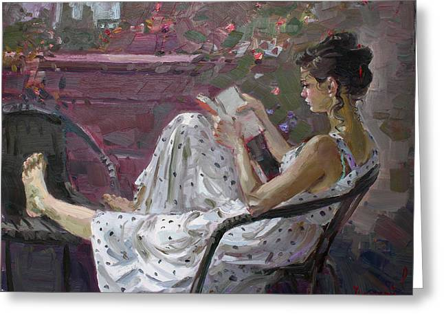 Girl Reading Greeting Card by Ylli Haruni
