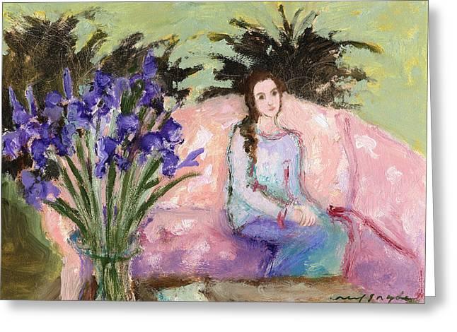 Girl With Iris Greeting Card