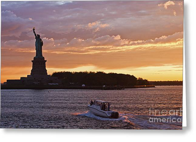 Glorious Sunset Over New York Greeting Card