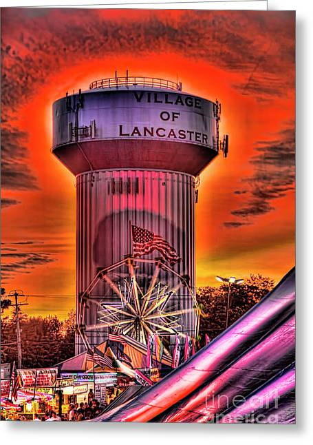 Glowing Water Tower Greeting Card