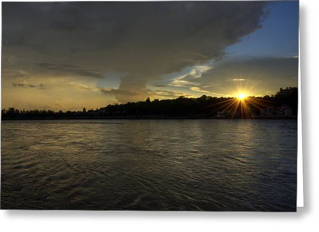 Golden Hour - Rishikesh Greeting Card by Rohit Chawla