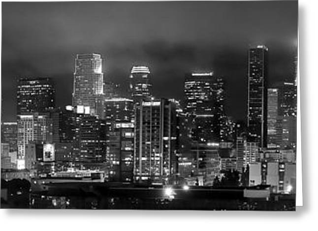 Gotham City - Los Angeles Skyline Downtown At Night Greeting Card