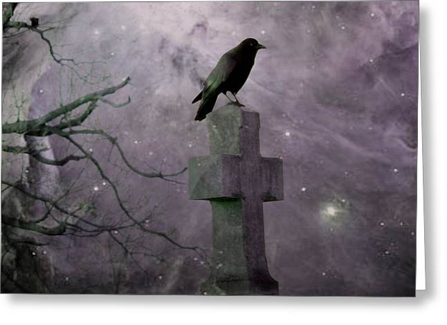 Surreal Crow In Gothic Purple Sky Greeting Card by Gothicrow Images