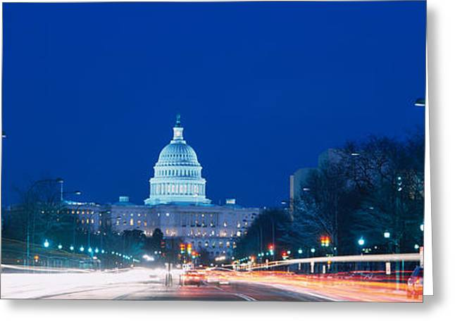 Government Building Lit Up At Dusk Greeting Card by Panoramic Images