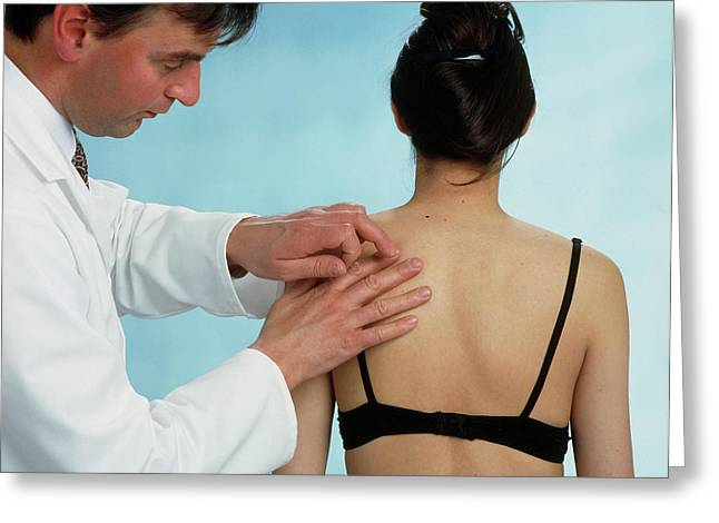 Gp Doctor Performs Percussion Chest Examination Greeting Card by Saturn Stills/science Photo Library