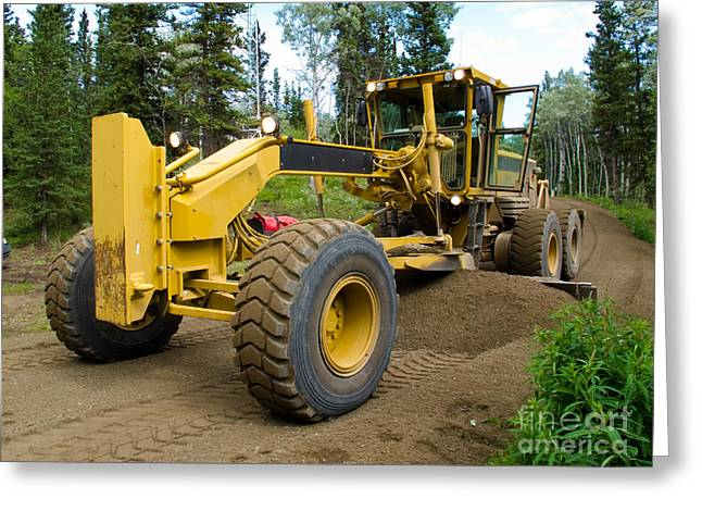 Grader Resurfacing Narrow Rural Road Greeting Card by Stephan Pietzko