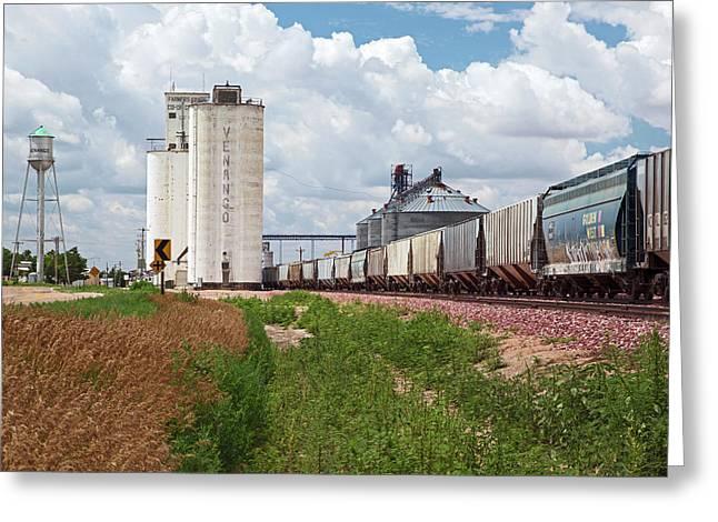 Grain Elevators And Railway Greeting Card by Jim West