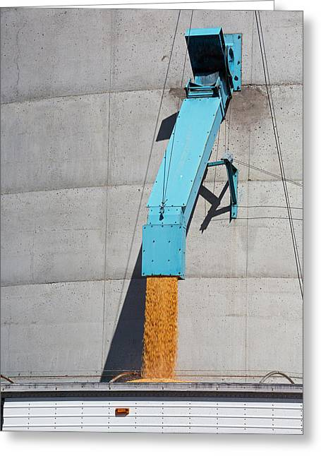 Grain Truck Being Filled At A Silo Greeting Card by Jim West