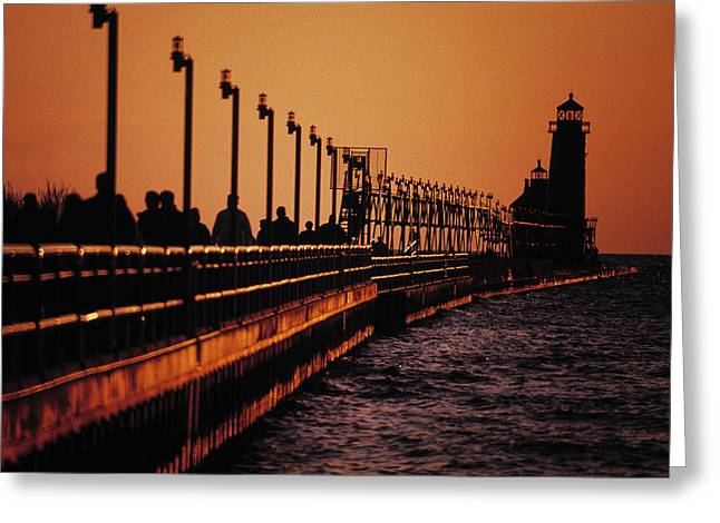 Grand Haven Lighthouse At Sunset, Grand Greeting Card