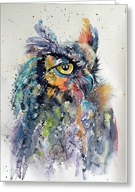 Great Horned Owl Greeting Card by Kovacs Anna Brigitta