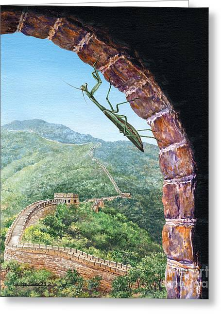 Great Wall Mantis Greeting Card by Lynette Cook