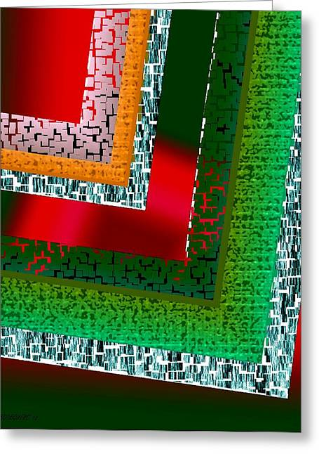 Green Geometric Art Greeting Card by Mario Perez