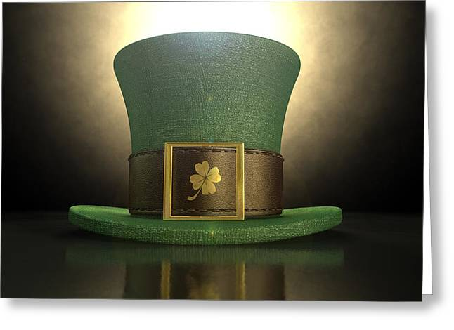 Green Leprechaun Shamrock Hat Greeting Card by Allan Swart