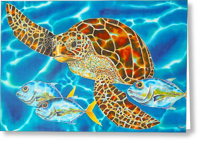 Green Sea Turtle Greeting Card by Daniel Jean-Baptiste