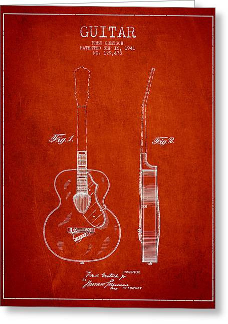 Gretsch Guitar Patent Drawing From 1941 - Red Greeting Card by Aged Pixel