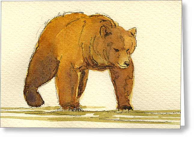 Grizzly Bear Greeting Card by Juan  Bosco