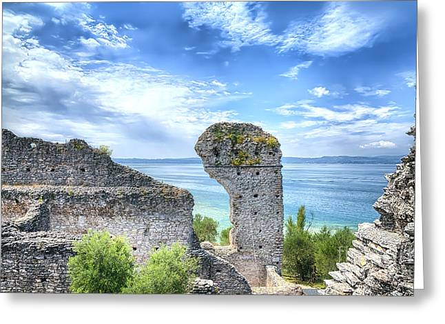 Grotto Catullus In Sirmione At The Lake Garda Greeting Card by Regina Koch