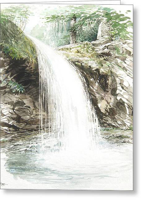 Greeting Card featuring the painting Grotto Falls by Bob  George
