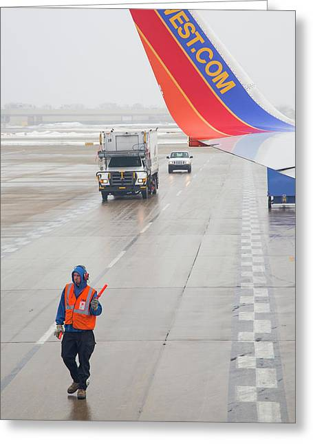 Ground Crew Worker At Chicago Airport Greeting Card by Jim West
