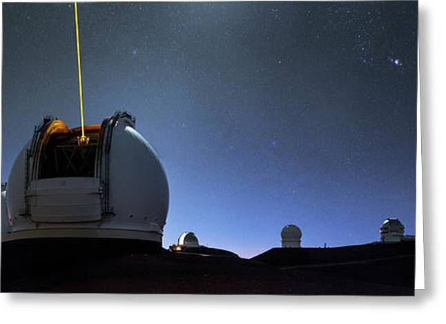 Guide Lasers Over Mauna Kea Observatories Greeting Card by Babak Tafreshi