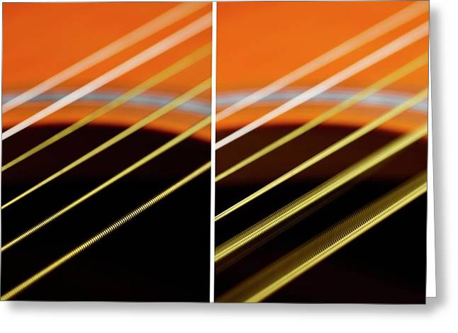 Guitar Strings At Rest And Vibrating Greeting Card by Science Photo Library
