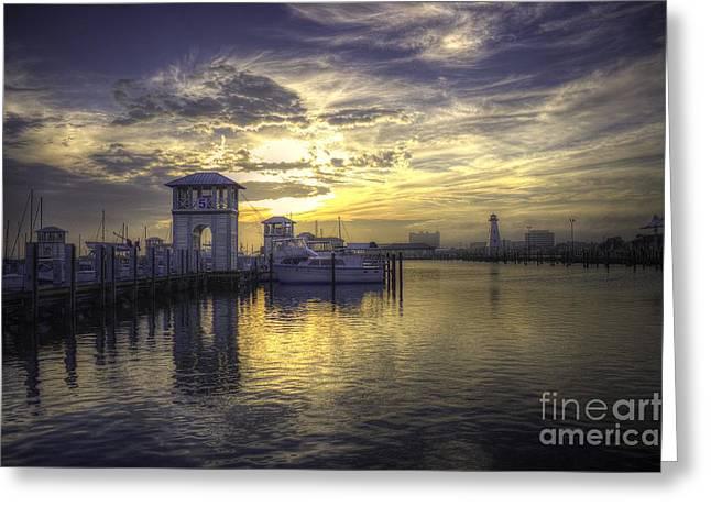 Gulfport Harbor Greeting Card by Maddalena McDonald