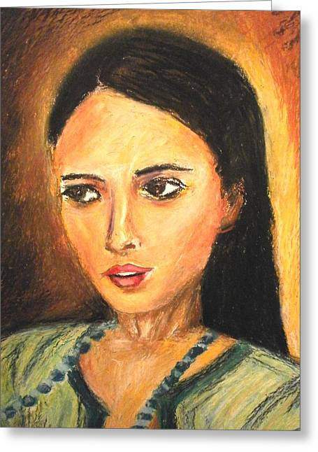 Gypsy Girl Greeting Card by Constantinos Charalampopoulos