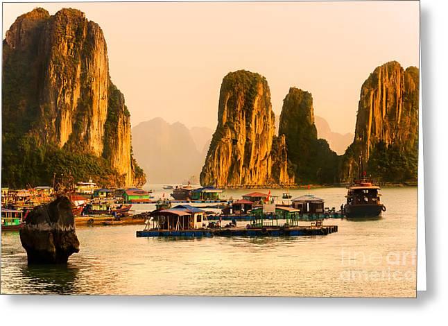 Halong Bay - Vietnam Greeting Card by Luciano Mortula