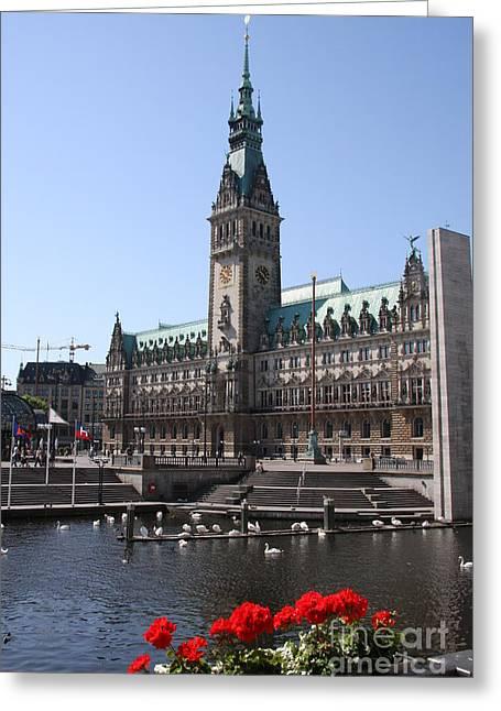 Hamburg - City Hall With Fleet - Germany Greeting Card