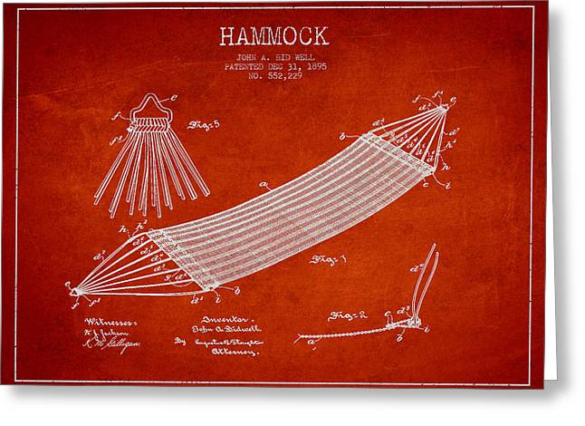 Hammock Patent Drawing From 1895 Greeting Card