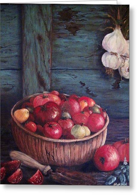 Greeting Card featuring the painting Harvest Time by Megan Walsh