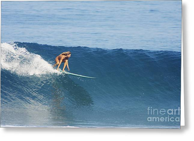 Hawaii, Oahu, North Shore, Pipeline, Surfer, Riding A Wave. Greeting Card by Vince Cavataio