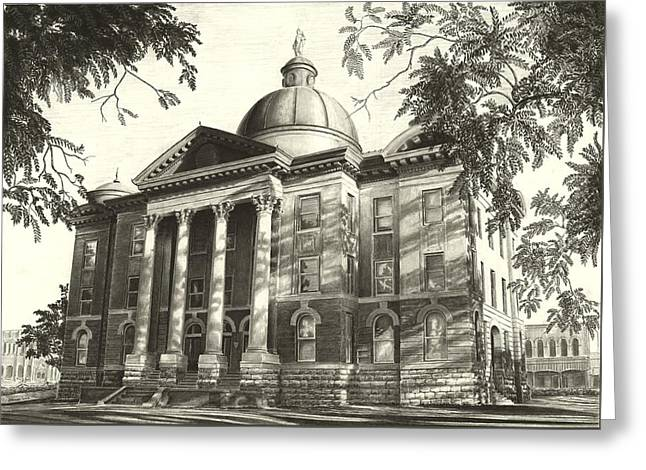 Hays County Courthouse Greeting Card by Norman Bean