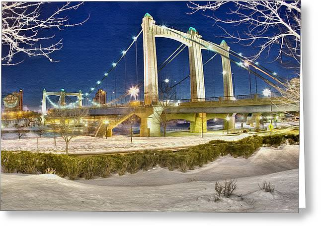 Hennepin Avenue Bridge Greeting Card by Jason Alexander