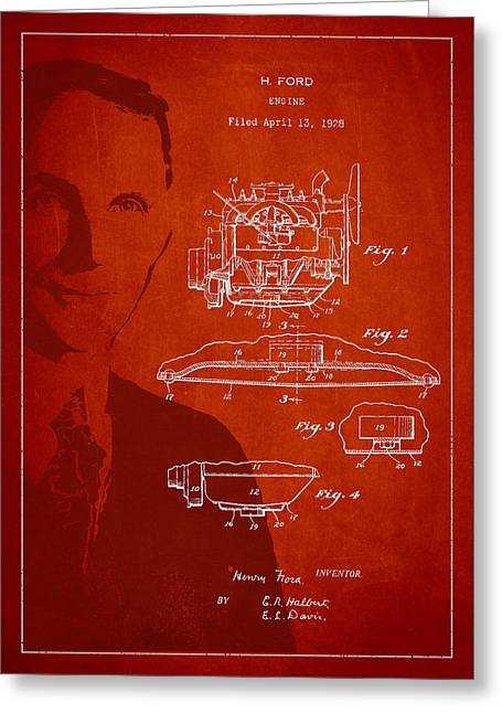 Henry Ford Engine Patent Drawing From 1928 Greeting Card