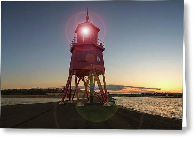 Herd Groyne Lighthouse  South Shields Greeting Card