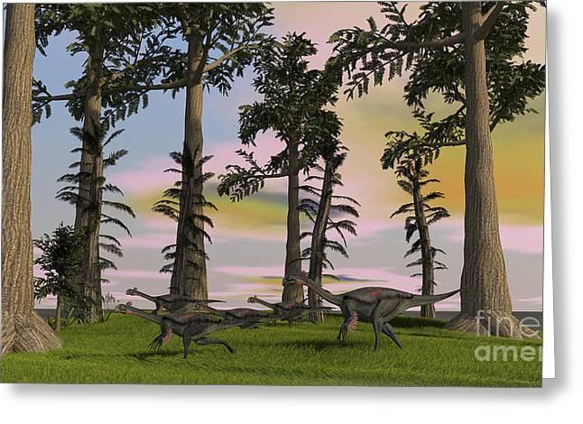 Herd Of Gigantoraptors Running Greeting Card by Kostyantyn Ivanyshen