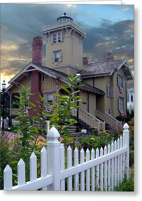 Hereford Inlet Lighthouse Greeting Card by Skip Willits