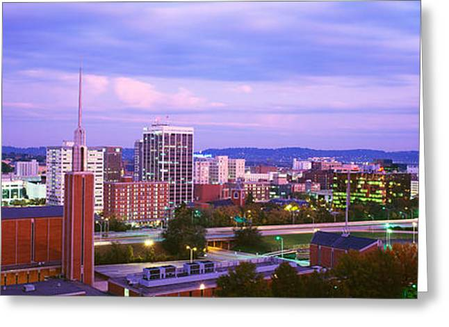 High Angle View Of A City At Dusk Greeting Card