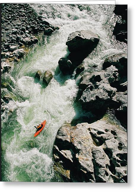High Angle View Of A Person Kayaking Greeting Card