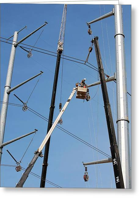 High Voltage Power Line Construction Greeting Card