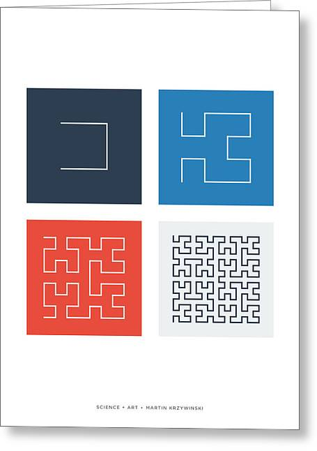 Hilbert Curves Of Order 1 2 3 And 4 Greeting Card by Martin Krzywinski